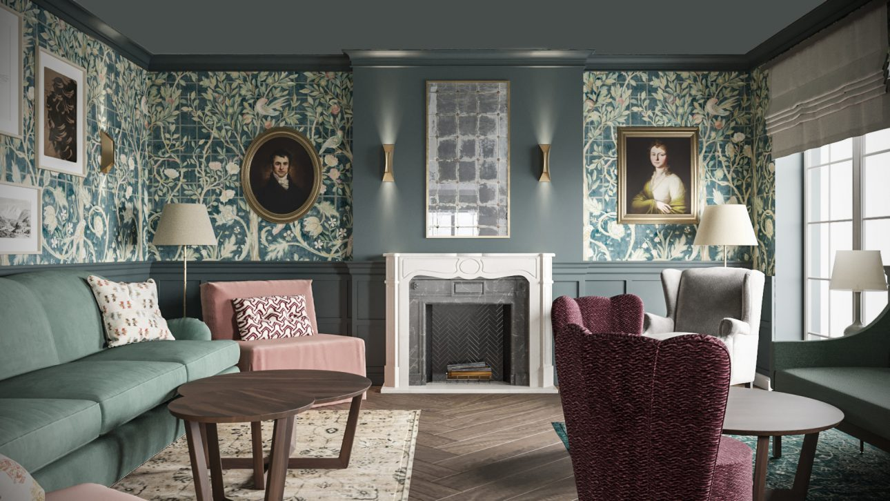 Comfy Living Room - Fireplace Chat in Hellbrunn - (The House & Gardens)
